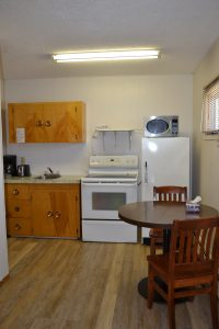 kitchen area of villager motel